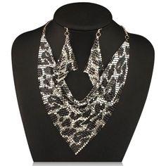 Noe - Shining Metal Choker Statement Necklace & Earrings Set