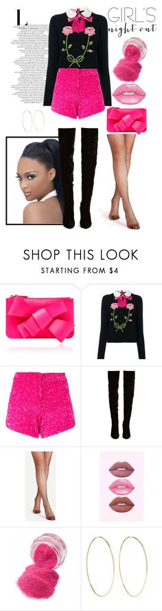 """""""Ready for a Girl's Night Out!!"""" by lashanna-bing ❤ liked on Polyvore featuring Delpozo, Gucci, Manish Arora, Christian Louboutin, Lime Crime and Magda Butrym"""