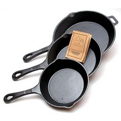 Cast Iron Frying Pans, Set of 3