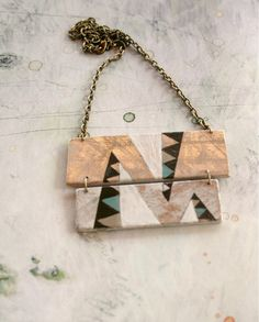 Hand painted geometric necklace Soft colors by vickygonart on Etsy, $34.00
