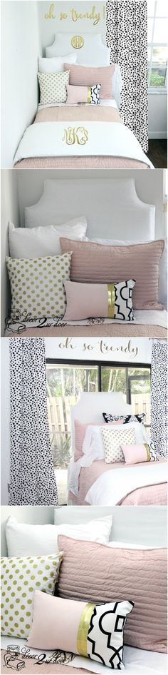 Decorating a dorm room? Check out Décor 2 Ur Door for the latest dorm room… Dorm Room Doors, Room Makeover, Room, Bed Design, Designer Dorm Bedding, Girls Dorm Room, Girl Room, Apartment Decor, College Room