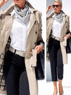 Create a classic work outfit with black pants, a crisp white shirt, beige trench coat and beige peep toe pumps. Add a silk scarf and a beige belt to your look for extra style points. Fashion Mode, Work Fashion, Fashion Looks, Fashion Outfits, Womens Fashion, Fashion Trends, College Fashion, Curvy Fashion, Fashion Ideas