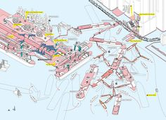 Kai Tak Cruise Terminal | Hong Kong | from the book Cities Without Ground: A Hong Kong Guidebook, by Adam Frampton, Jonathan D. Solomon and Clara Wong Kai Tak Airport, Urban Planning, Architecture Mapping, Architecture Design, Architecture Diagrams, Architecture Drawings, Urban Design, Solomon, Graphic Design Illustration