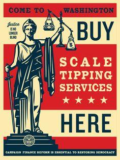 """Scale Tipping"" by Shepard Fairey. 18″ x 24″ Screenprint."