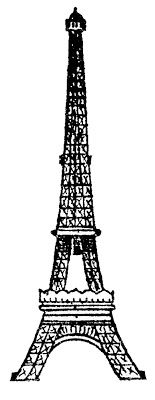 Eiffel Tower Picture - Vintage Line Drawing - The Graphics Fairy