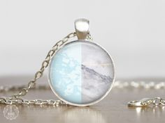 Blue Marble Pendant Necklace   Marble Necklace Marble Jewelry Boho Necklace Color Block Necklace White Marble Aesthetic Pastel Grunge by AgeOfAkuarius on Etsy