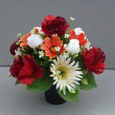 Artificial flower pot for grave memorial vase with artificial ...