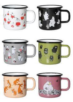 Moomin mugs : Muurla, Muumi emalimuki Retro Moomin Mugs, Tove Jansson, Finland, Kitchen Dining, Retro, Dishes, Tableware, Glass, Kitchen Ideas