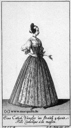 """""""Eine katholische Jungfer, im Haus gehend""""  (Costume of Augsburg, 1730)  Quelle: www.marquise.de"""