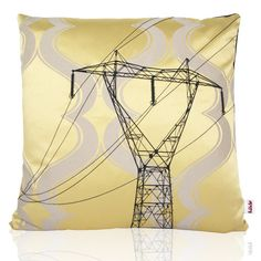 Yellow textile with design embroidered in black thread - black backside. MADE IN NORWAY - Limited edition, 44 x 44 cm.