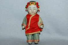 Vintage / Bisque Doll / Asian / Silk Clothing / frozen charlotte / penny doll / Vintage dolls on Etsy, $12.50