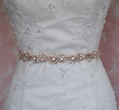 Rose Gold Crystal Skinny Sash Skinny Belt Bridal by TheRedMagnolia