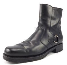 Ferragamo Mens Shoes 8 Leather Zipper Boots TA13708 Black