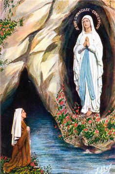 Vintage painting of #Lourdes, #France. Many of Litany's pieces incorporate antique and vintage Lourdes medals.