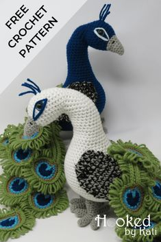 Regal the Peacock free amigurumi crochet pattern Here is our latest friend at Hooked by Kati, Regal the Peacock. Regal' shape was inspired by many lovely art pieces featuring a slender, curved neck peacock dragging a long, flowing tail behind him. Peacock Crochet, Crochet Birds, Crochet Motifs, Crochet Bunny, Cute Crochet, Crochet Crafts, Crochet Projects, Crochet Animals, Crochet Pet