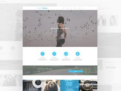 This clean creative agency template was made and assembled using the Bones wireframe kit.