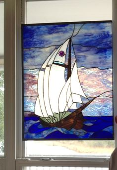 """""""Dad's Sailboat"""" stained glass window by Tappy Henson, Niceville Florida"""
