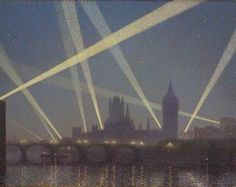 Sir Claude Francis Barry, R.B.A. (1883-1970) London and Wartime : Nocturne, 1918, oil on canvas 54 x 67 ½ in.