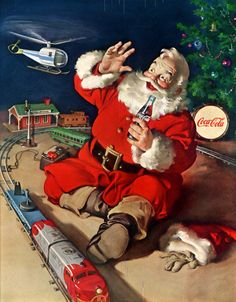 Coca-Cola® and Santa Claus Most people can agree on what Santa Claus looks like -- jolly, with a red suit and a white beard. But he did not always look that way, and Coca-Cola® advertising actually helped shape this modern-day image of Santa. Coca Cola Vintage, Coca Cola Ad, Coke Ad, Santas Vintage, Vintage Santa Claus, Vintage Ornaments, Vintage Advertisements, Vintage Ads, Poster Vintage