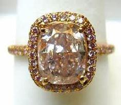 Gold Diamond Band & Pink Cushion Cut Ring...