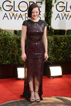 Elisabeth Moss looked pretty in a J Mendel dress.
