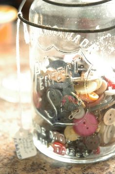 Looking for something to do with all those extra buttons? I'm going to put mine in a jar.