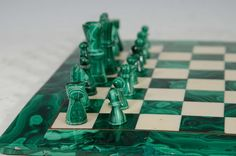 Midcentury Malachite and Marble Chess Set Game Board and Pieces image 3
