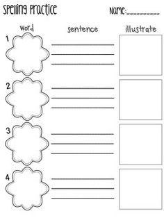 Spelling Practice: This freebie contains six practice pages that you can use with any spelling list. These sheets can be sent home as homework, placed at a word work center or used as a morning work assignment. Spelling Word Practice, 1st Grade Spelling, Spelling Centers, Spelling Homework, Spelling Worksheets, Spelling Test, Spelling Words, Spelling Ideas, Writing Centers
