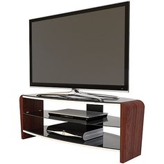 Francium TV Stand in Black / Walnut For - Beautifully curved black sides complement the 3 thick piano black glass shelves which are also height-adjustable to cater for larger associated source equipment. Tv Stand Accessories, 50 Inch Tvs, 42 Inch, Television Stands, Tv Furniture, Wall Mount Bracket, Kitchen Decor Themes, Tv Cabinets, Glass Shelves