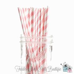 Baby Pink Straws Pink Straws Striped Paper by FiddleSticksBoutique, $2.95
