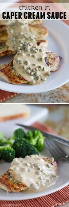 This Chicken in Caper Cream Sauce is an easy but elegant dinner recipe. Boneless chicken breasts are cooked in a skillet and served with a creamy caper cream sauce.