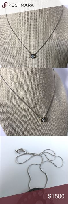 """14K Gold 1/2CT Diamond Solitaire Bezel Necklace ❤ Solid stamped 14K White Gold. Natural, round cut Diamond solitaire, approximately 1/2 carat weight. Bezel set diamond pendant on snake chain secured with lobster claw clasp. Approximately 18"""" Length Chain. The pendant does not come off the chain.  About 5.37 grams.  Gorgeous!Loved and worn daily for years, possibly time to let it go. Will show normal signs of wear, and tiny kink in chain. No paperwork or additional diamond info. PRICE IS FIRM…"""