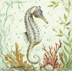 Image result for vintage seahorse art