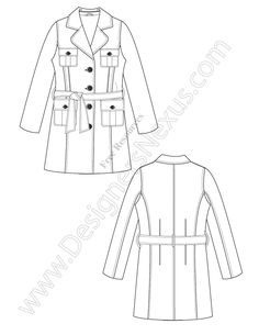 V16 Free Vector Fashion Flat Sketch Trench Coat - FREE download in Adobe Illustrator or PNG with transparent background at www.designersnexus.com!