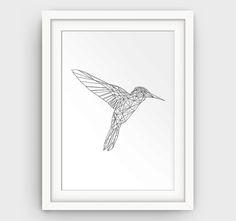 Hummingbird Art Hummingbird Print Printable Art by GalliniDesign