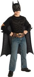 BATMAN COSTUME KIT CHILD SMALL - A very quick and easy Batman costume for your child. Muscle chest piece with attached belt and cape mask arm gauntlets. All black with printed gold belt. Fits child small sizes 4-6.