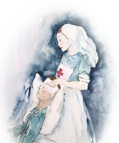 This is a picture of a Florence Nightingale nurse taking care of a wounded soldier. Likewise God takes care of the wounded people of the world.  He nurses and heals those He loves.          Watercolor painting by Marietta Wright