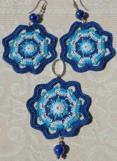 Items similar to Blue crochet earrings and pendant set. on Etsy ***R***