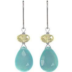 Aqua Chalcedony Gemstones- Lemon Quartz Gemstones - 925 Sterling Silver - Handmade Dangle Earrings