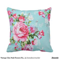 Vintage Chic Pink Flowers Floral Decorative Pillow