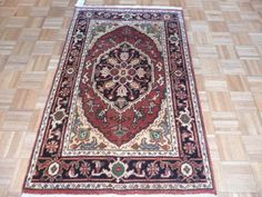 4 x 6 Hand Knotted Brick Rust/Black Serapi Heriz Oriental Rug on Etsy, $249.00