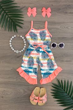 Tropical Stripe Ruffle Romper Baby Girl Pants, Baby Girl Dresses, Baby Dress, Frocks For Girls, Kids Frocks, Little Girl Outfits, Cute Outfits For Kids, Baby Girl Fashion, Kids Fashion