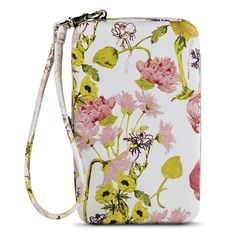 Women's Floral Print Cell Phone Case Wallet - White
