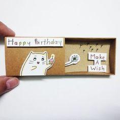 Happy birthday Card Matchbox Gretting Card Gift box by JtranJ