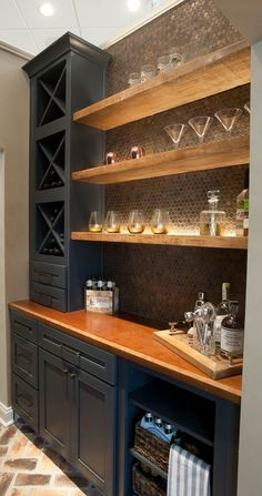 Some Fascinating Teenage Girl Bedroom Ideas - Stylendesigns Butler Pantry and Bar Design by Dalton Carpet One Wellborn Cabinets- Cabinet Finish: Maple Bleu; Basement Bar Designs, Home Bar Designs, Basement Ideas, Basement Decorating, Decorating Ideas, Wet Bar Designs, Walkout Basement, Small Basement Bars, Wet Bar Basement