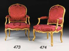 A LOUIS XV GILTWOOD FAUTEUIL  By Louis Delanois  The channelled arched padded back, the padded arms and waved seat covered in red floral silk damask, the toprail and seat-rail centred by flowers and foliage, on channelled cabriole legs headed by a flowerhead, stamped 'DELANOIS'  £3,760 / $5,429 (2001)