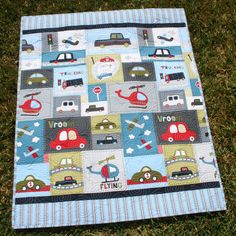 Vroom Baby Boy Quilt Toddler Vehicles Trucks Cars Airplanes Helicopters MADE TO ORDER. $149.00, via Etsy.