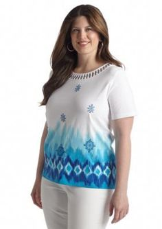 Alfred Dunner  Plus Size Isle of Capri Cutout Ombre Watercolor Tee