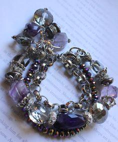 chunky charm bracelet multi strand bracelet drusy by soulfuledges, $69.99