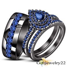 2.00 Ct Pear Cut Blue Sapphire Black Gold Plated Engagement Wedding Trio Set #giftjewelry22 #WeddingEngagementAnniversaryDailyWearRing